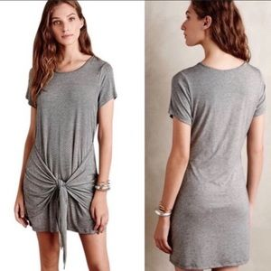 Anthropologie Dolan tie-front gray t-shirt dress